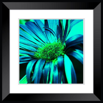 macro flower photography blue and green flower decor wall art home decor nursery bathroom living room bedroom