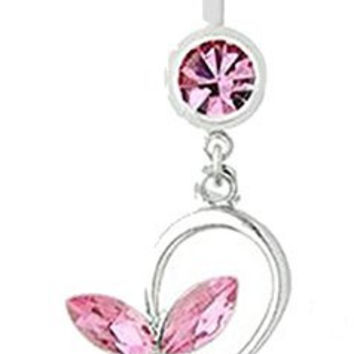 Sparkling Pink Crystal Butterflies on a Belly Ring
