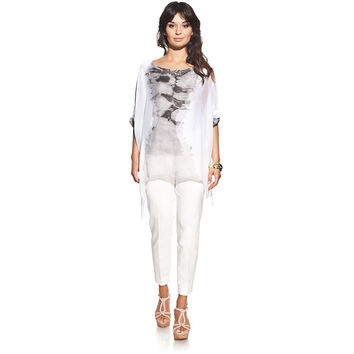 Silk blouse colour grey with boat neck and tie-dye print