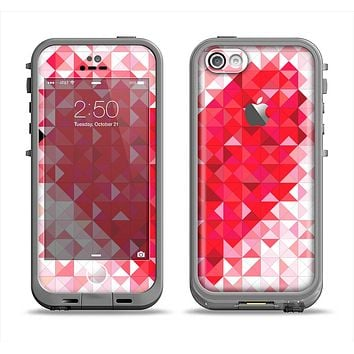 The Geometric Faded Red Heart Apple iPhone 5c LifeProof Fre Case Skin Set
