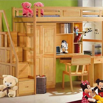 Webetop Double Bed Natural Solid Wood Childrens Bunk Bed with Large Storage and Desk Bedroom Furniture Bed [variant: 2 ]