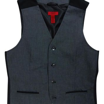 Alfani Red Men's Colorblocked Vest (Grey Pinstripe, S)