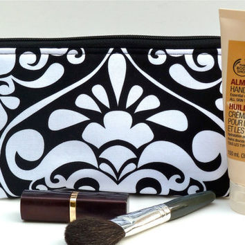 Large Makeup/Cosmetic Bag in Black and White Divine Damask