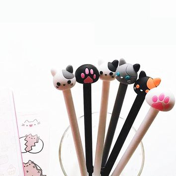 AB22 2X Cute Cute Kawaii Cat & Paw Silicone Gel Pen School Office Supply Stationery Writing Signing Pen Kids Student Gift