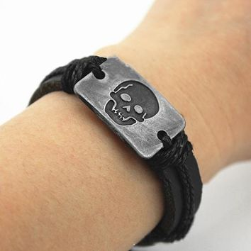 Punk Skull Pattern Handmade Woven Faux Leather Bracelet