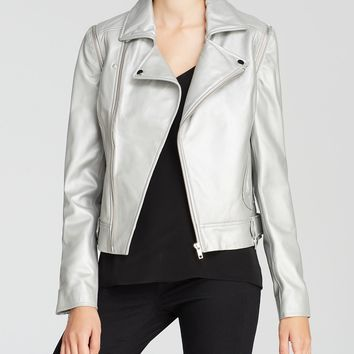 AQUA Jacket - Leather Zip Off Sleeve Moto