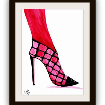Shoes art, watercolor painting, Printable vanity Wall decor, decal  decals, print, girl, fashion heels shoe, louis vuitton decoration, woman