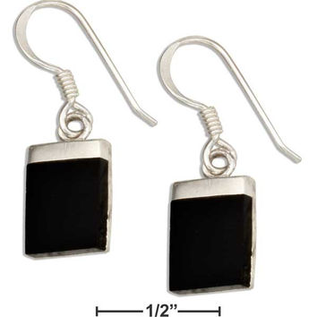 STERLING SILVER SIMPLE RECTANGLE SIMULATED BLACK ONYX EARRINGS