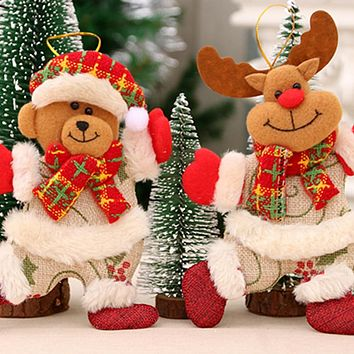 1PC Christmas Santa Claus Snowman Tree Toy Doll Hang Decorations