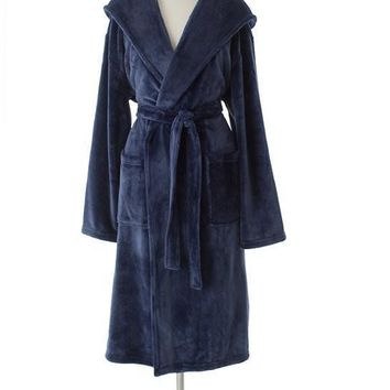 Selke Fleece Hooded Robe | Indigo