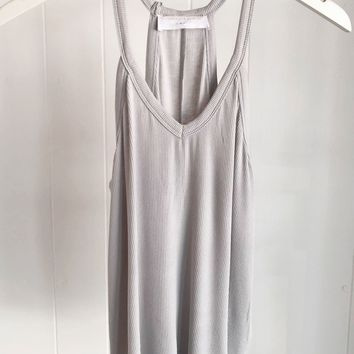 Basic Ribbed V-neck Tank- Light Grey