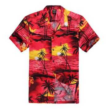 Hawaiian Shirt Aloha Shirt in Sunset Red - Walmart.com