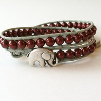 Red Elephant Wrap Bracelet, Good Luck Elephant Button, Red and Gray Bracelet, Alabama, Roll Tide