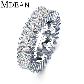 MDEAN White Gold Plated Rings for women CZ diamond jewelry Bague luxury women engagement wedding Rings vintage ring women MSR850