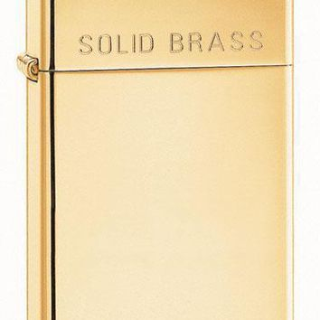 Zippo 1654 Slim Solid Brass Engraved Lighter