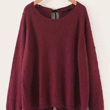 Button Up Tie Back Sweater