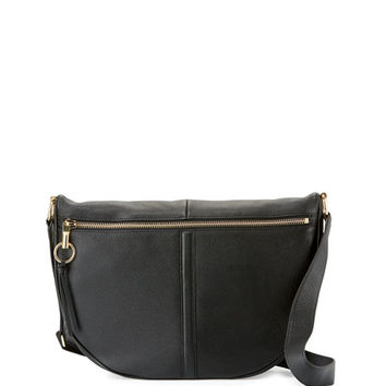 Elizabeth and James Scott Leather Half-Moon Shoulder Bag, Black