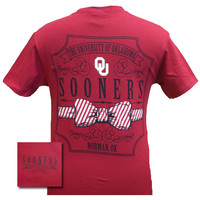 New Oklahoma Boomer Sooners Prep Pattern Bow Girlie Bright T Shirt