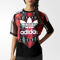 """Adidas"" Fashion Chiffon Perspective print Movement Leisure Round Neck Short Sleeve T-shirt"