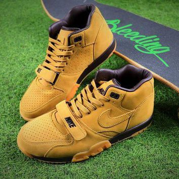 CHENElR Nike Air Trainer 1 Mid Premium NSW Nubuck leather Flax Basketball Shoes