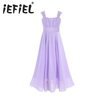 iEFiEL Kids Girls Flower Lace Dress for Party and Wedding Bridesmaid Floral Girl Dress Ball Gown Prom Formal Maxi Dress 4-14Y