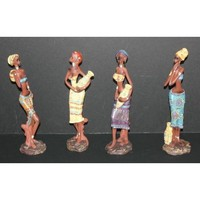 """4 African Tribal Ladies with Pots 9.5"""" Figurines in Colorful Dresses"""