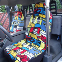 1 Set of Star Trek Cartoon Characters Print Car Seat Covers and 1 piece of Steering Wheel Cover Custom Made.