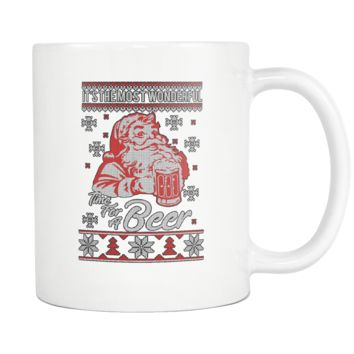 It's The Most Wonderful Time For A Beer Funny Ugly Christmas Sweater White 11oz Coffee Mug