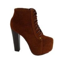 Lace up Platform Ankle Round Toe Bootie