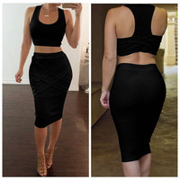 2017 Two Piece Dress Bandage Bodycon Sundress Sexy Party Dresses White Red Black Yellow Vestidos 2 Piece Set Women Summer Dress