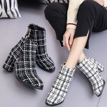 Vintage Design Gingham Cloth Winter Women Ankle Boots 2018 New Fashion Famous Brand Warm Plush Thick High Heel Lady Martin Boots