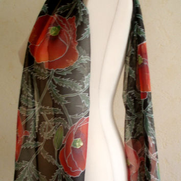 Painted by hand silk scarf with flowers. Black red Floral Silk Scarf with Poppys. Original artwork on 100% silk chiffon