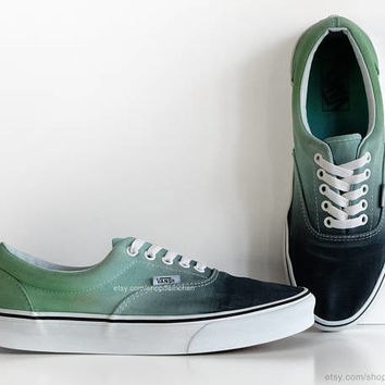 Dip dye Vans Era, aqua green ombré, tie dye skate shoes, upcycled vintage sneakers, casual shoes, size 42.5 (UK 9, us men 9, us women 10.5)