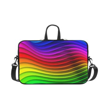 Personalized Laptop Shoulder Bag Glossy Rainbow Stripes Macbook Pro 17 Inch