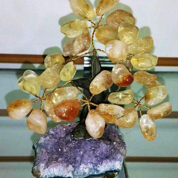 Holiday SALE Money Tree with Amethyst Base- Tree of Life Wire Tree Sculpture Reiki Healing Stone Wire Tree Gemstone Aventurine Good Luck
