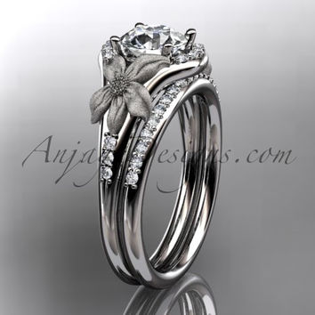 platinum diamond leaf and vine wedding ring, engagement set ADLR91 nature inspired jewelry