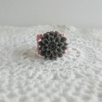 Grey Floral Ring Vintage Style Bridesmaid by theblackstarboutique