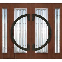 "Prehung Prehung Double 2-1/4"" Thick Mahogany Doors Sidelites Art Glass Iron Work"