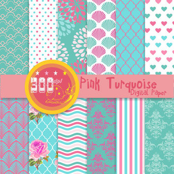 Pink and blue digital paper 12 blue and pink backgrounds instant download