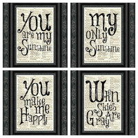 You Are My Sunshine Dictionary Print Set, Set of Four, Art Print, Dictionary Page, Wall Decor, Wall Art, Mixed Media