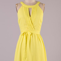 The Night is Young Halter Dress - Yellow