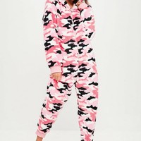 Missguided - Pink Camo Fleece Onesuit