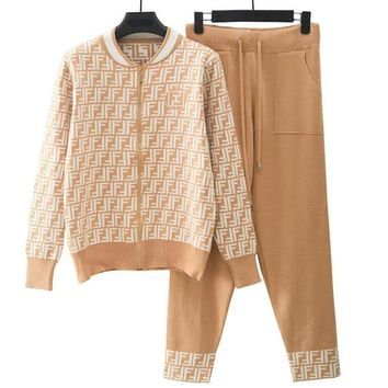 FENDI Newest Fashionable Women Jacquard Sport Knit Cardigan Jacket Coat Pants Trousers Set Two-Piece Khaki