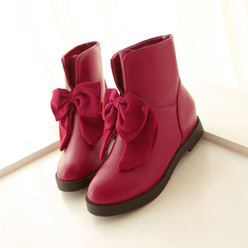 Cute Bowknot Wedges Short Martin Boots