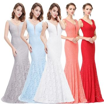 Blue Mermaid Prom Dresses Ever Pretty 2018 Cheap Fashion Sexy Lace Mermaid V-Neck Elegant Long Dresses Hot Sale 2018 Party Gowns