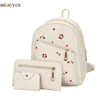 3Pcs/Set Floral Women Backpacks female 2017 School Bags For Teenage Girls Black PU Leather Women Backpack Shoulder Bag Purse