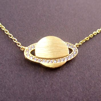 Rhinestone Planet Saturn Shaped Pendant Necklace in Gold
