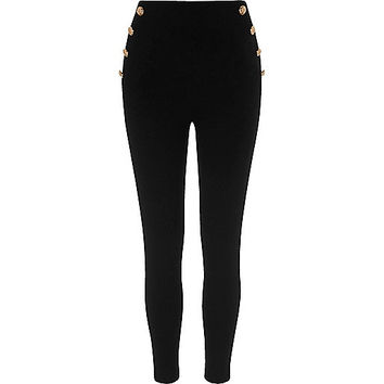 Black button side ponte leggings - leggings - pants - women