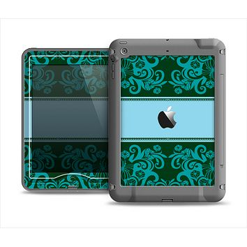 The Dark Green & Light Blue Vintage Pattern Apple iPad Air LifeProof Nuud Case Skin Set