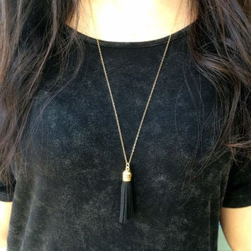 Genuine Black Suede Tassel Necklace, Layer Long Necklace, 14kt Gold Fill Chain, Simple Tiny Gold Necklace, Gift For Her, Delicate Necklace